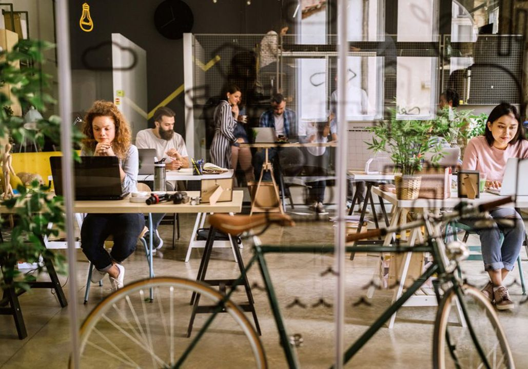 Bicycle in co-working space